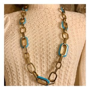 Gorgeous Gold & Turquoise Link Necklace